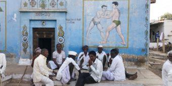 inde du sud village lutteur peinture murale