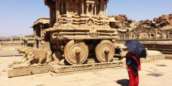 hampi architecture temple antiquite charriot de pierre